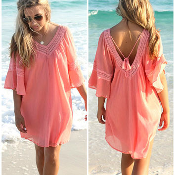 Anna Maria Island Bell Sleeve Coral Peasant Dress