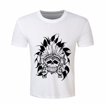 Men Superme Style T-shirt 2016 Summer Latest Indian chief skull Print T shirt Brand Clothing Breathable tee shirt homme