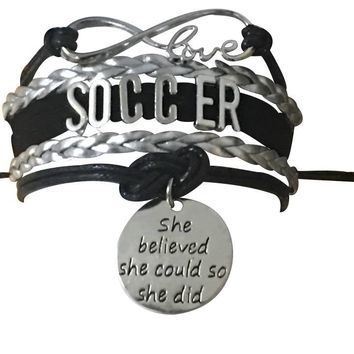 Soccer She Believed She Could So She Did Infinity Bracelet