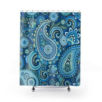 Haute Beach Blue Paisley Shower Curtain