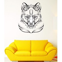 Wall Decal Animal Fox Predator Flowers Patterns Characters Vinyl Decal Unique Gift (ed409)
