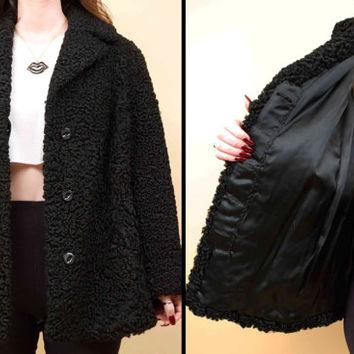 60s 70s Vtg Jet Black Genuine PERSIAN Curly Lamb Fur Car Coat / Collared Jacket / Modern Minimalist Satin Lined EUC Small
