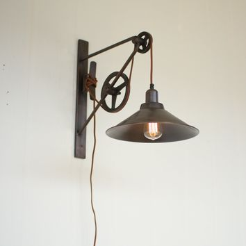 Vintage Rustic Double Pulley Wall Sconce Light -- 15-1/2-in