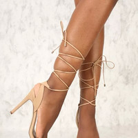 Natural Wrap Around Tie Single Sole High Heels Faux Leather