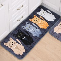 Welcome Floor Mats Animal Cat Printed Bathroom