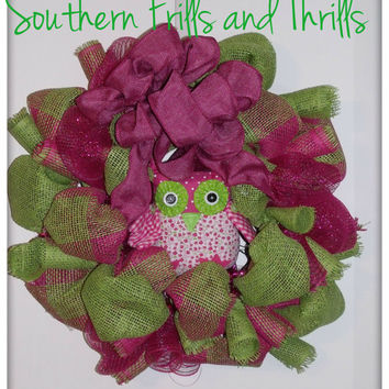 Pink and Lime Burlap and Deco Mesh Wreath with Owl