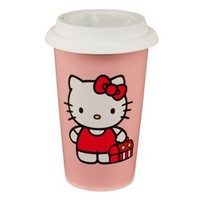 Vandor 18251 Hello Kitty 12 oz Double Wall Ceramic Travel Mug with Silicone Lid, Pink