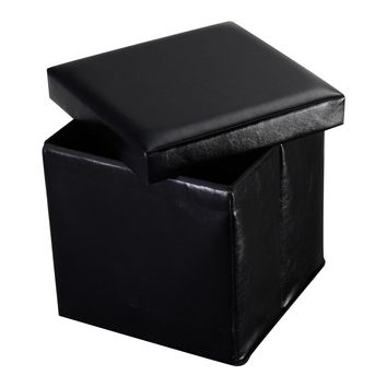 Folding Faux Leather Ottoman Storage Seat This single faux leather folding ottoman storage seat will good for storing goods and sitting.
