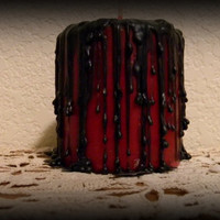 Hand Dripped Red And Black Pillar Candle
