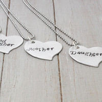 Grandmother Mother Daughter Necklace Set, Generation Necklace, Kids Gift to Grandma, Mother and Daughter Necklace, Family Necklace, Set of 3