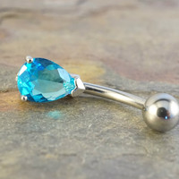Aqua Blue Solitaire Pear CZ Belly Button Ring Jewelry