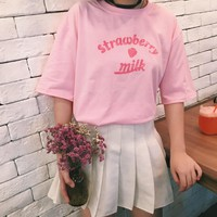 Harajuku Strawberry Milk Print T-shirt