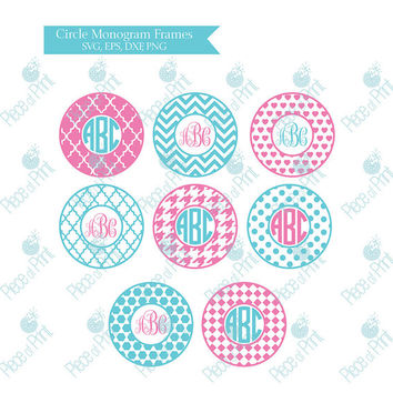 Circle Monogram Svg Frames svg cut files dxf eps png Vinyl Decal Die Cut Machine Cricut svg file Silhouette Studio3 Vector Graphic