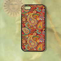 Colorful Paisleys in Red Background iPhone 6, 6 plus,5, 5s, 5c, 4s, 4, ipod 4, 5, Samsung GS3, GS4 Silicone Rubber Hard Plastic Case cover