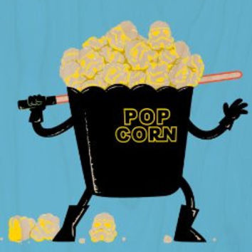 'Pop Corn Kingdom' Space Movie Parody w/ Popcorn & Sword - Plywood Wood Print Poster Wall Art