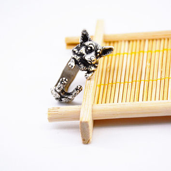 Drop Shipping 1Pieces Vintage Silver Boho Chic Love Welsh Corgi Dog Ring Anel Hippie Brass Knuckles Rings For Women Men Jewelry