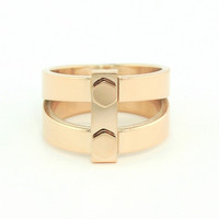 Wanderlust + Co - Double Bar & Screw Rose Gold Ring
