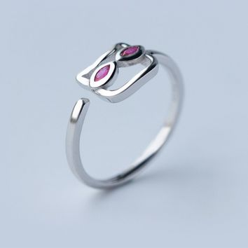 Lovely pink eyes cat 925 Sterling Silver ring, a perfect gift
