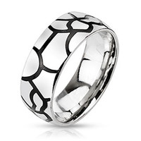 Craqueline – Black IP and silver stainless steel dome band ring