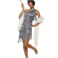 Dazzling Gun Metal Flapper Adult Costume
