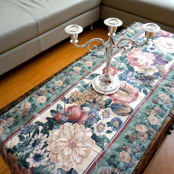 Peony Rose Table Runner taupe Floral Coffee Table runner Kitchen table runner Vintage Inspired Wedding Table Runner floral tablecloth