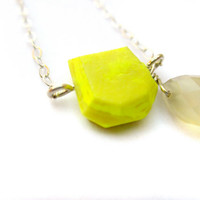Bright Yellow Necklace, Quartz Necklace, Sterling Silver Necklace, Geometric Jewelry, Modern Necklace, Colorful Jewelry, Faceted Pendant