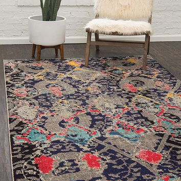 0168 Navy Blue Tribal Design Contemporary Area Rugs