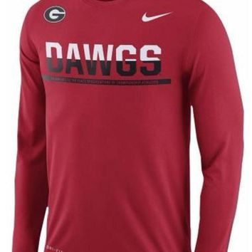 DCCKG8Q NCAA Georgia Bulldogs Nike Long Sleeve Dri Fit T-Shirt