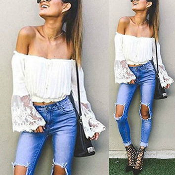 Fashion Women Sexy Off Shoulder Chiffon Shirt Tassels Boho White Crop Top Blouse