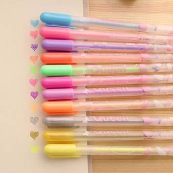 1PCs 12 Colors Lovely Queen Princess Brandy Candy Color Gel Ink Pen Creative Stationery 0.8mm Watercolor Pen E0042