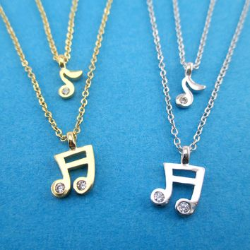 Quaver Musical Notes Shaped Multi-Strand Two Layered Pendant Necklace