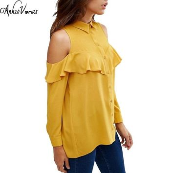 NEW 2017 Women Yellow Ruffle Off Shoulder Blouse Chiffon Casual Tops Plus Size 5xl 6XL Elegant Fold Lotus Sexy Blusas Boho Shirt