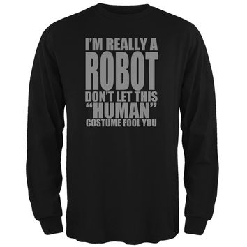 Halloween Human Robot Costume Black Adult Long Sleeve T-Shirt