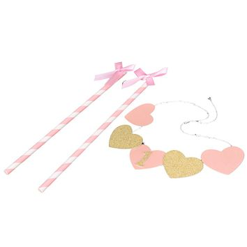1 SET New Arrive Glitter Gold Baby Girl First Birthday Party Cake Decoration Pink Heart Topper with Bowknot