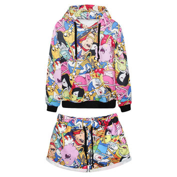 Women's All Over Print Adventure Time Cartoon Collage Printed Tracksuit Sport Suit Hoodies Sweatshirt +Pants 2pc Set Jogging Sportswear