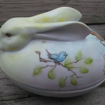 Hand Painted Bunny Rabbit Vintage Porcelain Trinket Candy Box Signed
