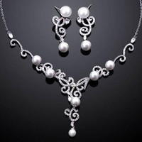 Cubic Zirconia Romantic  Jewelry Set ,Wedding Accessories ,Necklace Earrings Pearl Jewelry Set