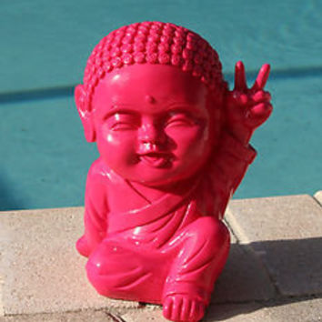"Happy Pink Whimsical Funny Thai Buddha Peace Sign Statue ""Good Luck""  Feng Shui"