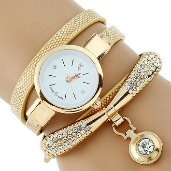 Gnova Platinum Fashion Luxury Women Rhinestone Gold Bracelet Watch