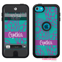 100% Genuine Monogram Personalized OTTERBOX DEFENDER for iTouch 5 Ipod 5th Purple Bloom Floral Flower Device Case