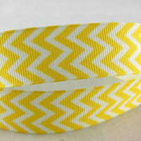 "Grosgrain Ribbon, 7/8"" Chevron Grosgrain Ribbon--Yellow, sold by the yard, craft supply"