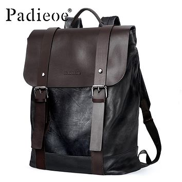 Men's High Quality Cow Split Leather Backpack Fashion Vintage College Backpacks Male Travel Laptop Book Bags