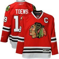 Men's Chicago Blackhawks Jonathan Toews Reebok Red Home Premier Jersey