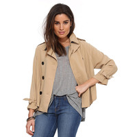 Casual Lapel Collar Long Sleeve Big Button Jacket