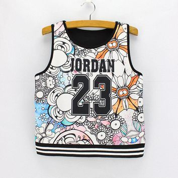 Number 23 printed women crop tanks The western fashion design summer girls tank tops low price wholesale free shipping