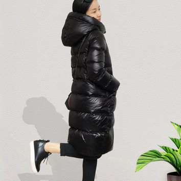 Top Base Coat Wadded Winter Jacket Women Cotton Slim Female Long Warm Plus Size Hooded Parkas Thickened Lady's Down Jacket 1116