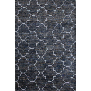 Naturals Trellis, Chain And Tile Pattern Blue Jute and Wool Area Rug (2x3)