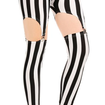 BadAssLeggings Women's Black & White Stripes Garter Leggings Medium