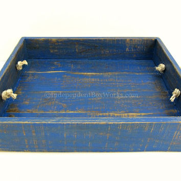 Distressed Blue Wooden Tray - Reclaimed Painted Wood Tray - Rustic Serving Tray - Weathered Aged Dining Tray - Ottoman Tray, Wedding Tray