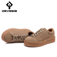 2016 New Women Rihanna Casual Shoes Women's Chaussure Camel Rihanna Style Suede Shoes Creepers  Zapatillas Deportivas Mujer 0059